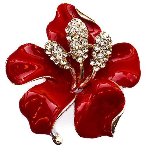 new-19-large-flower-silver-colour-brooch-bright-red-high-gloss-enamel-clear-rhinestone-diamante-crys