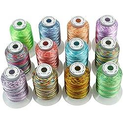 New brothread 12 Multi Farben Polyester Maschinen Stickgarn 500M (550Y) für Brother/Janome / Singer/Babylock / Kenmore/Pfaff / Bernina/Husqvaran Stickereimaschine