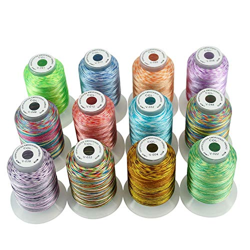 quite nice eb0b6 eacf3 New brothread 12 Colors Variegated Polyester Machine Embroidery Thread Kit  500M (550Y) Each Spool