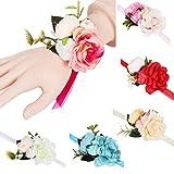 BIGBOBA. Stile Coreano Floreale Polso da Donne Damigella d'Onore, Matrimonio Romantico Sposa Polso Bianco Fiore Artificiale Matrimonio Abbigliamento Accessori