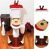 Lytshop Materiale superiore Happy Santa Closestool Decorations Rug Set Set di coprisedili per toilette di renne di Natale