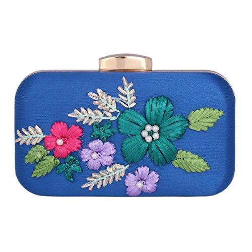Damara® Damen Party Eleganz Clutch Abendtasche Mit Stickerei Blümte Blau