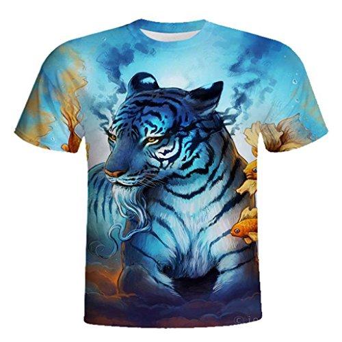 7fd53c77e641 Mode Jungen Herren Rundhals T-Shirt, ❤️Fun Wolf Druck Casual Kurzarm T-