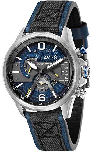 Montre Homme - AVI-8 - Hawker Harrier II - chrono - jour - Date - Cuir Noir Coutures Bleues Boitier Acier - AV-4056-01