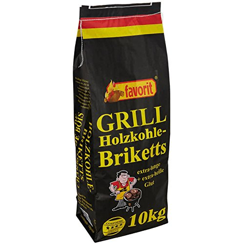 60 x 10 kg Favorit Grill Holzkohle-BRIKETTS, Grillbriketts, Briketts, 600 kg Palette mit 60 Sack
