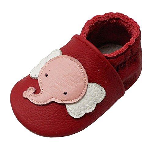 YALION Baby Weiche Leder Lauflernschuhe Krabbelschuhe Hausschuhe Lederpuschen Elefant Rot (24-36 Monate, Rot)
