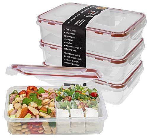 Bento Brotdose 3er Set 24oz-Mahlzeit Zubereiten-Behälter mikrowellengeeignet - BPA-frei auslaufsicher - Lebensmittelbehälter Spülmaschinenfreundlich - Schnappverschluss-Deckel
