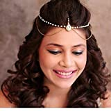 #3: Style Gallery Gold Plated Chain pearl Layer Kundan Stones Headchain mangtika-Pack Of 2