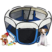 Todeco - Parque de Juegos para Mascotas, Parque para Animales Pequeños - Material: Poliéster recubierto de PVC - Diámetro: 125 cm - Azul