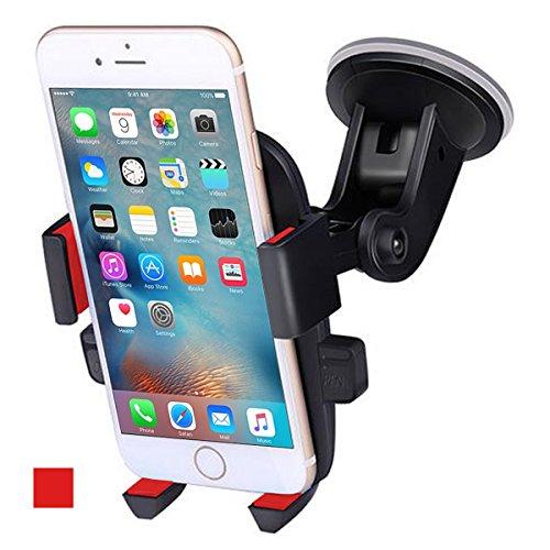 ANCOOLE Auto Handyhalterung Windschutzscheibe 360° Drehung Geeignet für iphone Xs/XR/8/7/6 Plus Samsung S9/S8 und mehr (Rot)