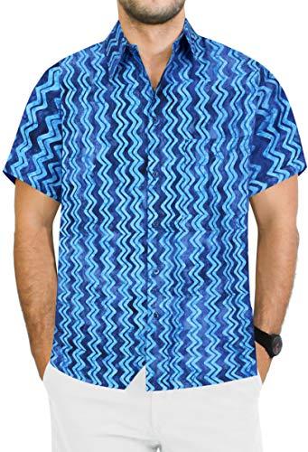 LA LEELA hawaiische Strand-Party Männer lässig gespreizte Kragen Kurze Ärmel Fronttasche Hawaiihemd Königsblau_AA124 XXL-Brustumfang (in cms):137-149