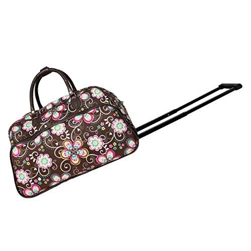 World Traveler Women's 21-inch Bag Rolling Duffel, Brown Daisy, One Size