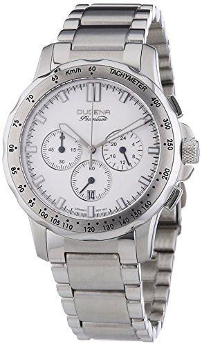 Dugena Men's Imola Evo Chrono Quartz Watch with White Dial Chronograph Display and Silver Stainless Steel Bracelet