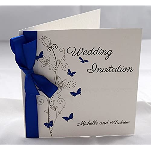 Butterfly wedding invitations personalised with ribbon available in many colours royal blue satin packs of 10