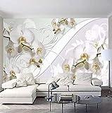 Murales 3D Papier Peint Papier Peint Style Européen Orchidée Fleur Motif Salon Tv Fond Mur Décor Peinture Home Decor,300cmx210cm