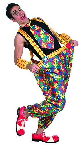 Joker L655-002 - Clown Puzzle Uomo Costume di Carnevale in Busta, Multicolore