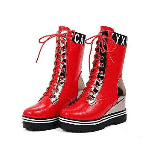 AgooLar Damen Blend-Materialien Rund Zehe Hoher Absatz Gemischte Farbe Schnüren Stiefel Rot