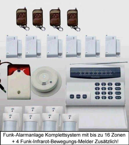 Premium-Sicherheits-Anlage / Mehr-Zonen / Vollausstattung / Funk-Übertragung / Inkl. 4 zusätzliche Infrarot-Bewegungs-Melder (Gesamt 7)