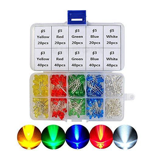 ATPWONZ 300pcs LED DIP Ultrabrillante Diodos Multicolor Emisores de Luz 3mm/5mm (5 Colores)