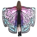 WOZOW Damen Schmetterling Schmetterlingsflügel Kostüm Faschingkostüme Schal Tuch Poncho Umhang für Party Cosplay Karneval Fasching (Heißes Rosa 1)