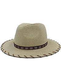 Sombrero - Verano Mujeres Hombres Playa Toquilla Paja Sombreros para el Sol  con Handwork ala Ancha Fedora para Señora Elegante… f52ec4cbb23