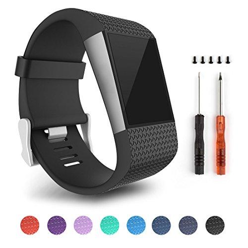 Für Fitbit Surge, Ersatz Bands für Fitbit Surge Activity Tracker (Black-L)