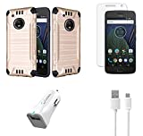 Moto G5 Plus - Accessory Bundle with Dual Layer [Brushed Metal Texture] Hybrid Case - [Gold], Atom LED, Glass Screen Protector, 18W [Qualcomm Quick Charge 2.0] Car Charger, Micro USB Cable