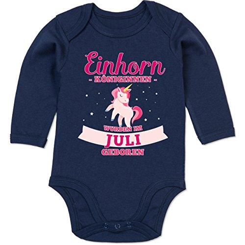 Shirtracer Geburtstag Baby - Einhorn Königinnen wurden im Juli geboren - 6-12 Monate - Navy Blau - BZ30 - Baby Body Langarm