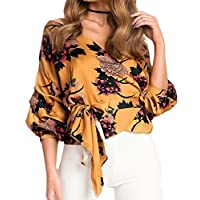 ONTBYB Women's Elegant V Neck Wrap Long Sleeve Floral Print Blouse Tops with Belt Yellow M