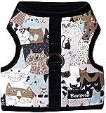 Beroni Katzengeschirr Jacket Brustgeschirr ausbruchsicher No Escape mit Katzenmotiv Schwarz (Large)