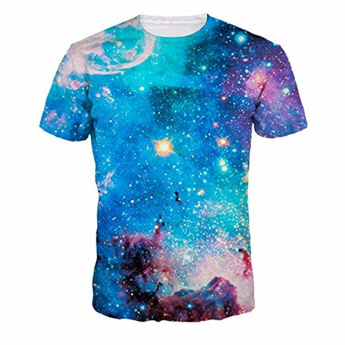 Men's 3D Galaxy Printed Short Sleeve Tee Shirt light