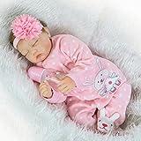 ZIYIUI Reborn Doll 55 cm 22 inch Soft Silicone Vinyl Reborn Baby Doll Girl Looks Like Really Sleeping Newborn Reborn Dolls and Clothes Lifelike Toddler Birthday Xmas Gifts