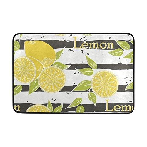 WIHVE Leaf Lemon Fruit Muster Fußmatte Entrance Mat Fußmatte Teppich Rutschfeste Weiche saugfähig Badteppich Küche Teppich (2'x 1,5') (Hartholz Und Teppich-boden Staubsauger)