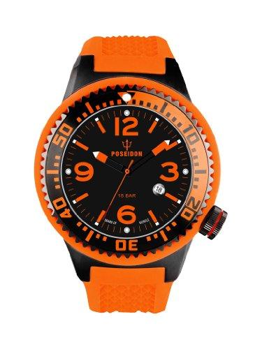 Kienzle Herren-Armbanduhr XL  POSEIDON Black Pro Analog Silikon K2021173363-00261