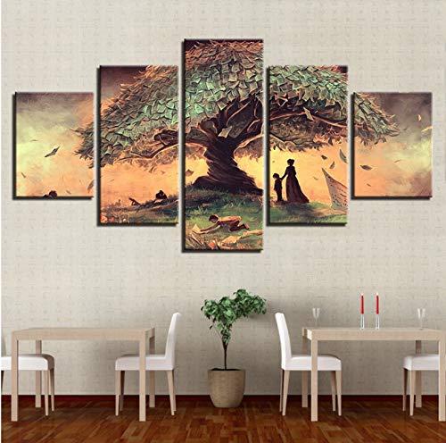 Wiwhy Poster Wandkunst Hd Druckt Abstrakte Bilder 5 Stücke Surreale Fantasie Märchenbaum Gemälde Wohnzimmer Dekor-10X15/20/25Cm