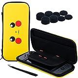 Pandaren® 3 IN 1 Trage tasche Beutel Lagerung Aufbewahrungsbox (PKM) für Nintendo Switch Konsole und Spiele MIT Silikon hülle x 2, PRO Daumen Griffe aufsätze x 8