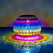 StillCool® Lámpara Solar Con Mosaico Colorida Lámpara De Mesita De Noche Lamparas De Sobremesa Para Salón, Jardín, Habitación, Terraza, Comedor, Etc. (Multicolor)