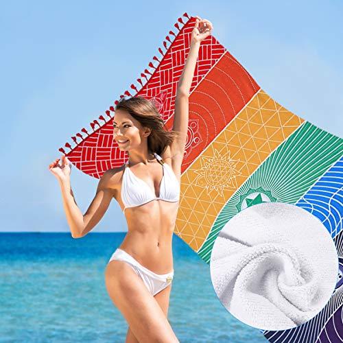 Jeteven Regenbogen Strandtuch boho Yoga 7 Chakras Teppich Handtuch Tapisserie Badetuch Zigeuner Sonnenschutz Schal 150 * 75cm bunt (B) -