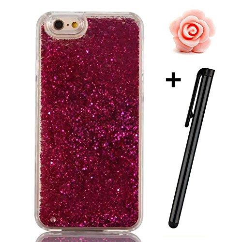 iPhone 6S Plus Hülle,iPhone 6 Plus/6S Plus Hülle Case,TOYYM 3D Kreativ Design Dynamisch Fließen Flüssig Handyhülle PC Hardcase Hüllen für Apple iPhone 6 Plus/6S Plus 5.5inch,Glitter Glitzer Sparkle Ha Rose Red Sand