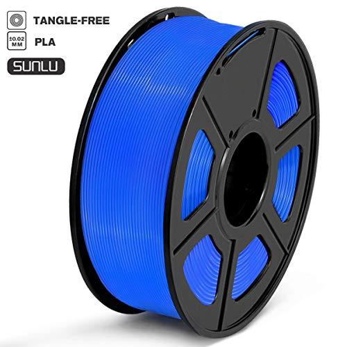 SUNLU Filamento PLA 1.75mm 1kg Impresora 3D Filamento, Precisión Dimensional +/- 0.02 mm, PLA Azul