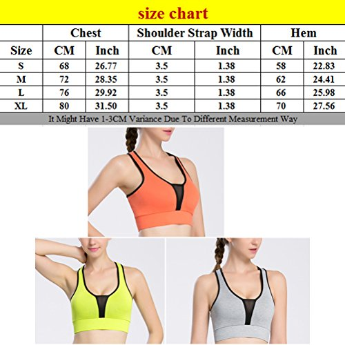 Zhhlaixing Fashion Womens Full Cup Sports Workout yoga Comfortable Vest Bra LWQ-0102 Orange