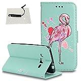 TOCASO Schutzhülle Flamingo Samsung Galaxy J3 (2015) J300 Leder Wallet Hülle hülle Ultra Slim Handyhülle Schutz Hülle Handytasche Klapphülle Stand Karte Magnet - Flamingo Hellgrün