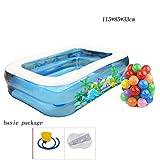 Baby-aufblasbares Pool 2 beschriftet blaues Rechteck-Familie sehr großes Planschbecken 115 * 85 * 33cm