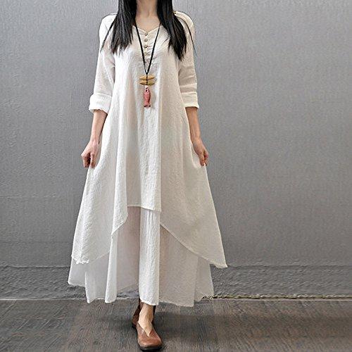 Honghu Frauen Boho Kleid Casual Unregelmäßige Maxi Kleider Vintage Lose  Langarm Baumwolle Leinenkleid Weiß 4XL b17fea91a6