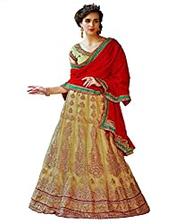 DesiButiks Wedding Wear Magnificent Chickoo Net Lehenga