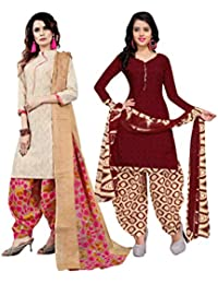 Rajnandini Women's Cotton Unstitched Salwar Suit (Pack of 2) (Red & Beige_Free Size)