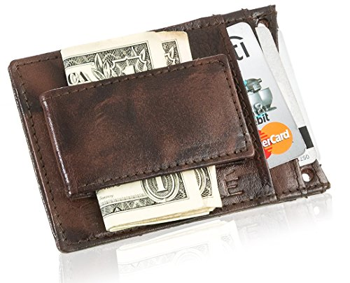 Suvelle Mens Leather Slim Magnetic Money Clip Front Pocket Minimalist Wallet with Detachable Neck Strap W019 -