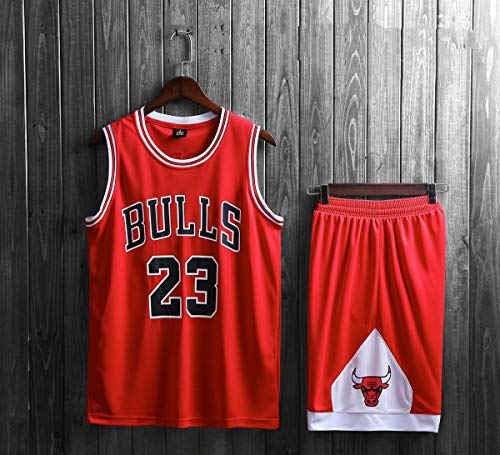 Mens Michael Jordan # 23 Chicago Bulls Retro Basketball Shorts Sommer Trikots Basketball-Trikot Top & Short Sport,Rot,M