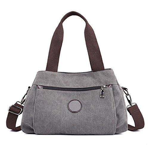 MORGLOVE Damen Canvas Handtasche Umhängetasche Mittelgroß Tasche, Modern Schultertasche Mit Vielen Fächern für Frauen Grau