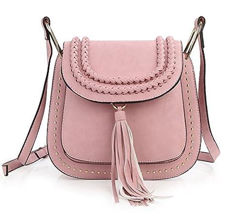 Zicac Frauen Schultertasche Freizeit Handtasche Nieten Fransen Umhängetasche Tasche (rosa)